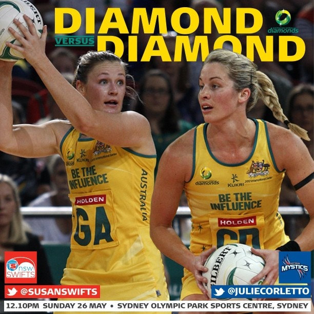This week's Diamond v Diamond Susan Pratley from the NSW Swifts and Julie Corletto from the Northern Mystics.