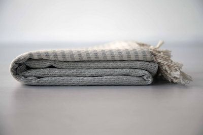De SOHO grey. Een heerlijke zachte hamamdoek in een rustige kleur. De SOHOlijn is erg fijn geweven, handgemaakt en 100% katoen. Bestel hem snel op www.theuppereast.nl voor maar E22,-.