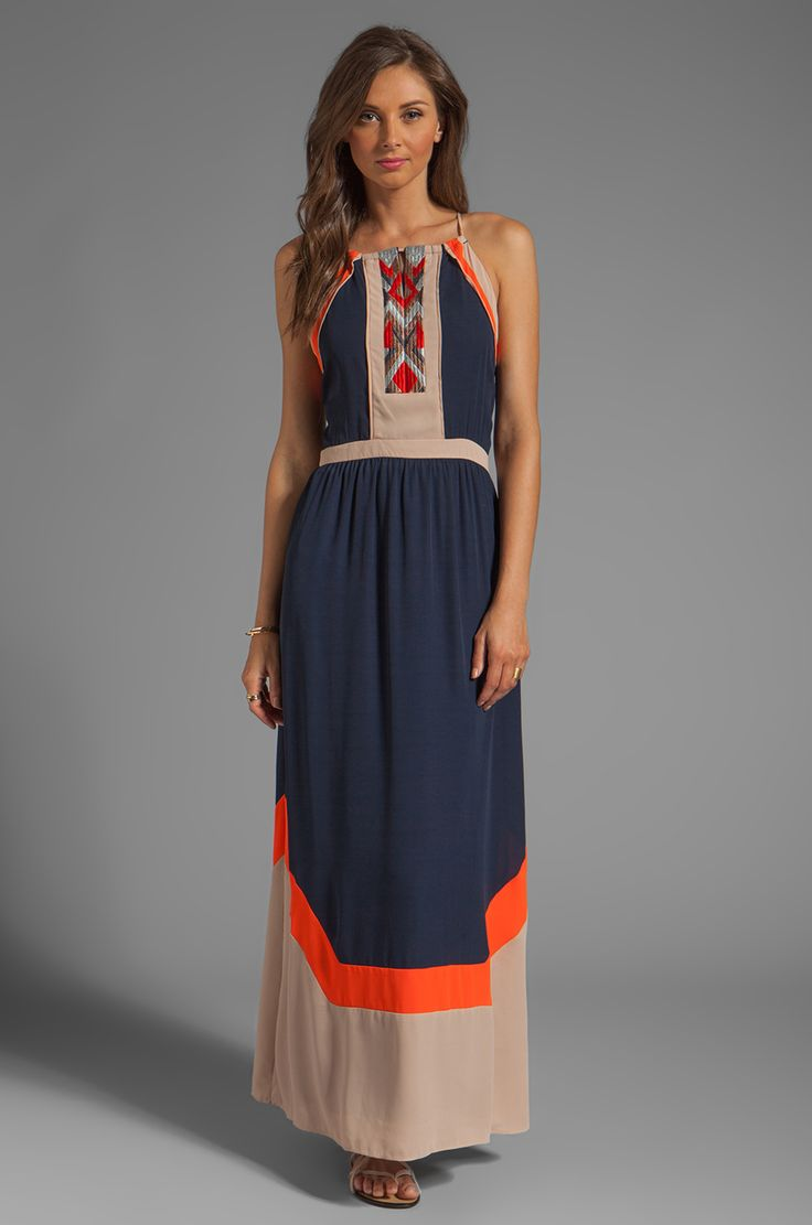 Greylin Amanda Embroidered Maxi Dress in Navy