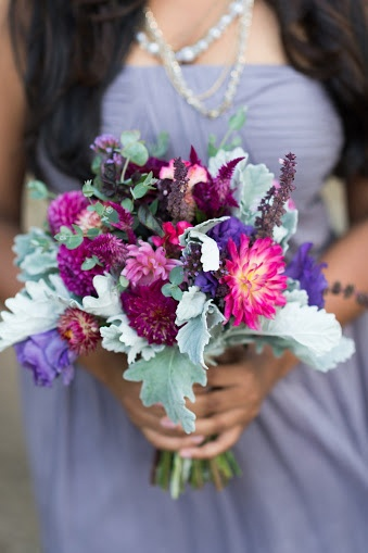 September Bridesmaid bouquet designed by Local Color Flowers filled with locally grown dahlias, lisianthus, basil, coxcomb and strawflower.