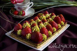 Tarte aux fraises a la creme de pistache