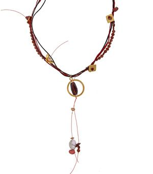 Handmade silver necklace made of granades braided with red and black cords, with gold plated bronze flower&square pendants, fresh water pearls&Swarovski crystals@ http://www.theodorajewellery.com/jewel/en/2062/  Χειροποίητο κολιέ φτιαγμένο από ασήμι 925ο με μικρές πλακέ γρανάδες, δεμένες με μπορντώ&μαύρα κορδόνια&διακοσμημένο με λουλούδι& τετράγωνα στοιχεία από επιχρυσωμένο μπρούντζο.Το κολιέ στολίζουν μαργαριτάρια,Swarovski & μενταγιόν με γρανάδα…