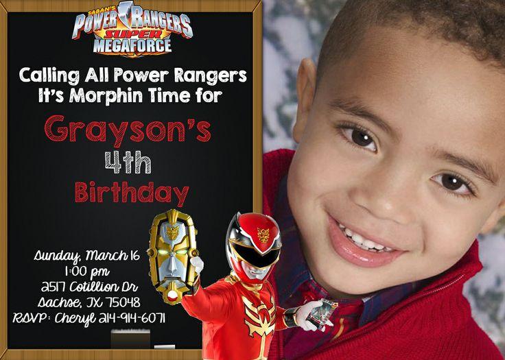 partyexpressinvitations - Power Rangers Megaforce Birthday Invitations - Chalkboard Invitations, $8.99 (http://www.partyexpressinvitations.com/power-rangers-megaforce-birthday-invitations-chalkboard-invitations/)