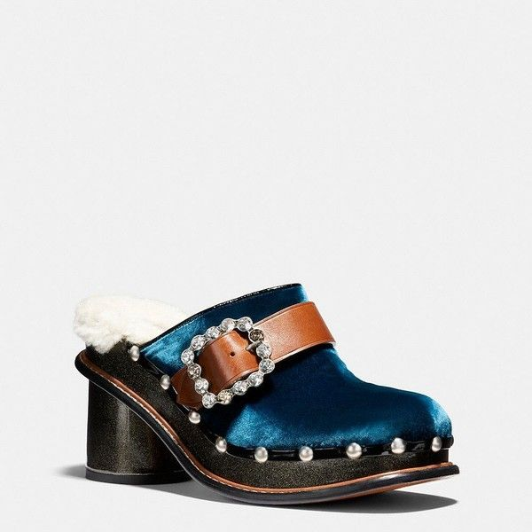 Coach Clog Slide With Glitter Heel ($350) ❤ liked on Polyvore featuring shoes, peacock, strappy shoes, high heeled footwear, sparkly shoes, high heel shoes and platform clogs shoes