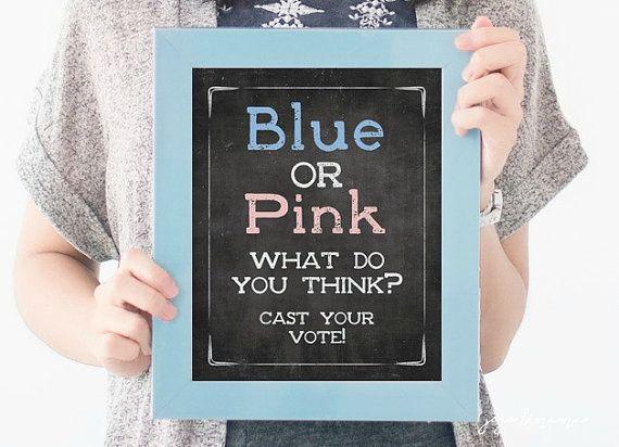 Gender Reveal CHALKBOARD Printable Sign Blue or Pink by JoJoMiMi