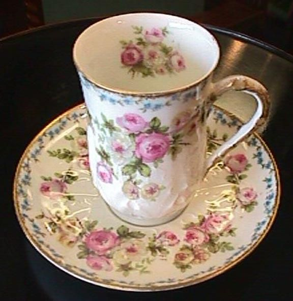 Exceptional Limoges Cup U0026 Saucer   Florals And Gold Awesome Design