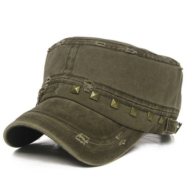 Thenice Distressed Military Hat Unisex Solid Adjustable Army Cap ($13) ❤ liked on Polyvore featuring accessories, hats, distressed cap, caps hats, army cap, military fashion and army hat