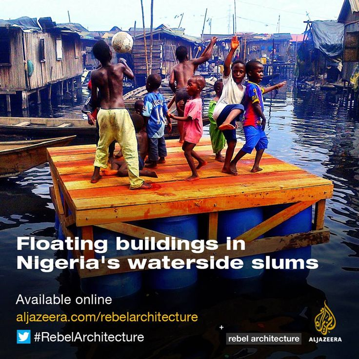 Nigerian architect Kunle Adeyemi is pioneering floating buildings to solve the issues of flooding and land occupation that affect hundreds of thousands in African coastal cities, including the 85,000 residents of the Makoko slum in Nigeria's capital Lagos.  Watch Rebel Architecture. http://www.aljazeera.com/programmes/rebelarchitecture/2014/06/working-water-20146308464261842.html