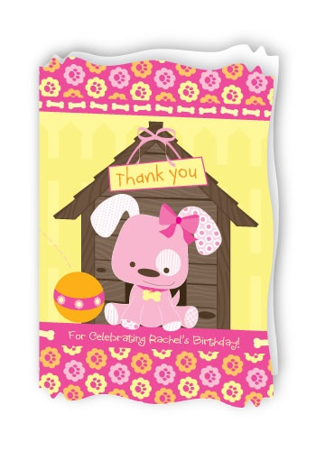 Girl Puppy Dog - Personalized Birthday Party Thank You Cards With Squiggle Shape $0.99