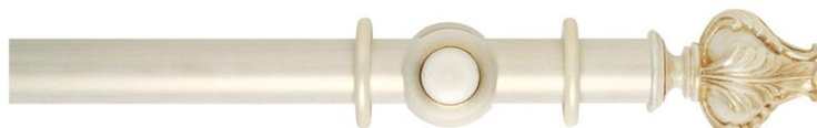 Museum Handcrafted 35mm Cream And Gold Wash Effect Wood Curtain Pole with Vienna finial