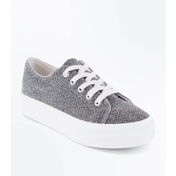 Wide Fit Silver Glitter Chunky Sole Trainers (£17) liked ...