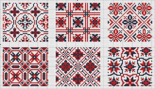 All-over patterns for cross sitich or knitting.