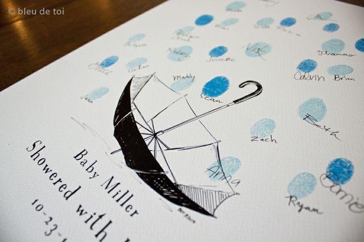 Bleu de Toi - Baby Shower Umbrella with Thumbprint Raindrops, $25.00 (http://www.shopbdt.com/baby-shower-umbrella-with-thumbprint-raindrops/)