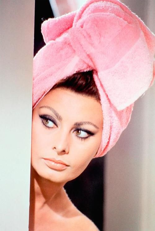 Sophia Loren. (If only I looked this good with a towel around my head!)