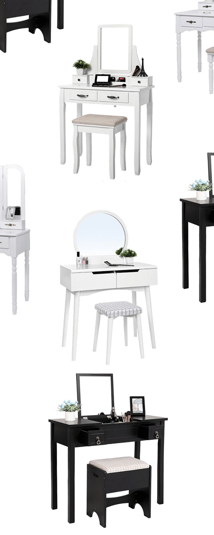 Home Decor Dupes DIY -- Makeup Vanity Idea -- Makeup Vanity Sets With Mirror and Stool   Black Makeup Vanity Set   Makeupvanityideas.com