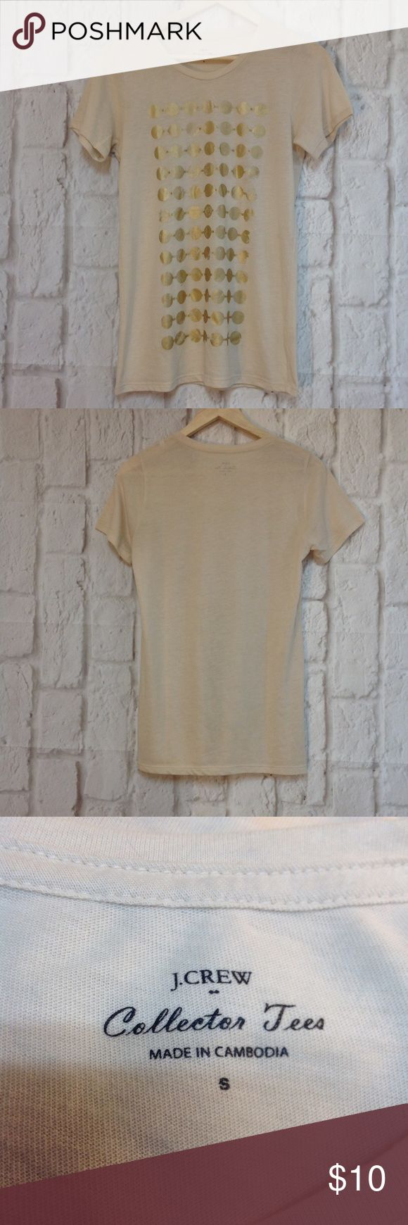 J crew collectors tee shirt Soft beige tee with gold dots. Like new condition J. Crew Tops Tees - Short Sleeve