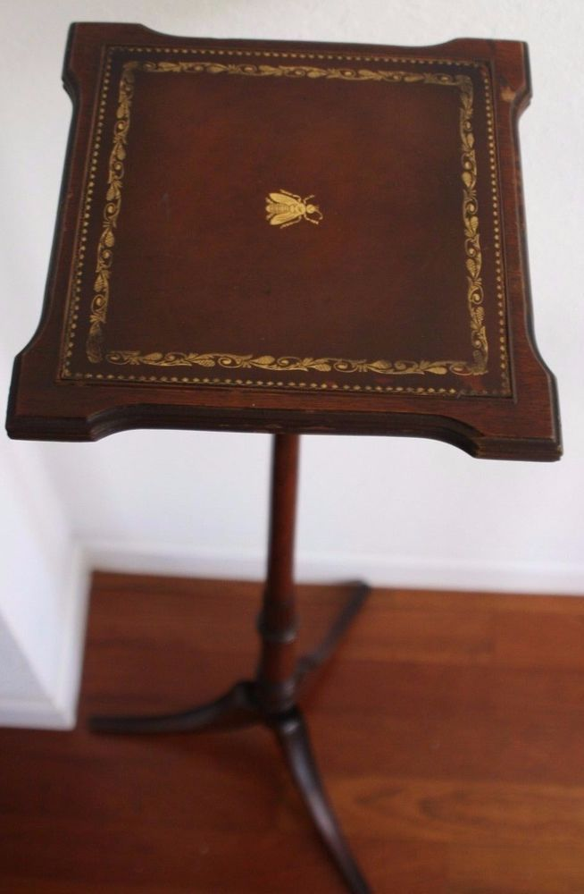 Vintage English Traditional Tall Wood Pedestal Stand With Leather And Wood Top #Traditional #vintageenglish #pedestal