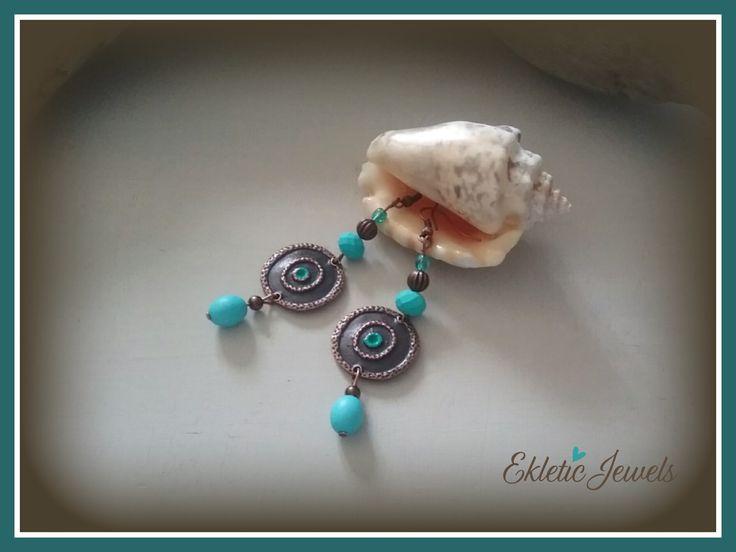 Aqua turquoise boho earrings