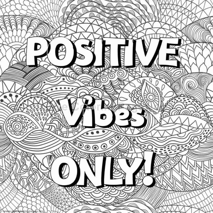 Positive Vibes Only Wordscoloring