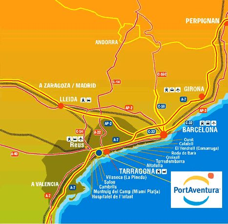 How to get to #portaventura #themepark barcelona map Spain ...