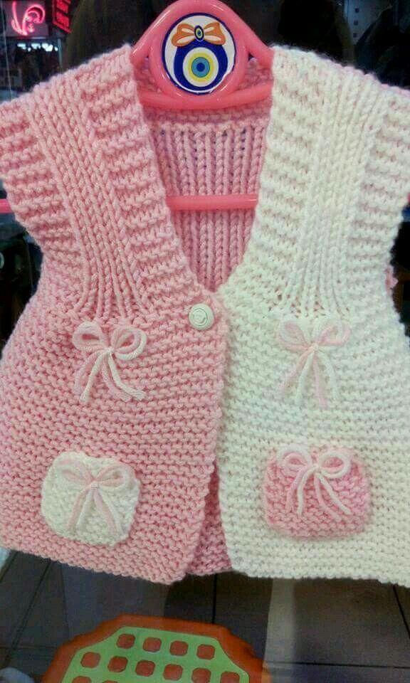 saquito rosa y blanco
