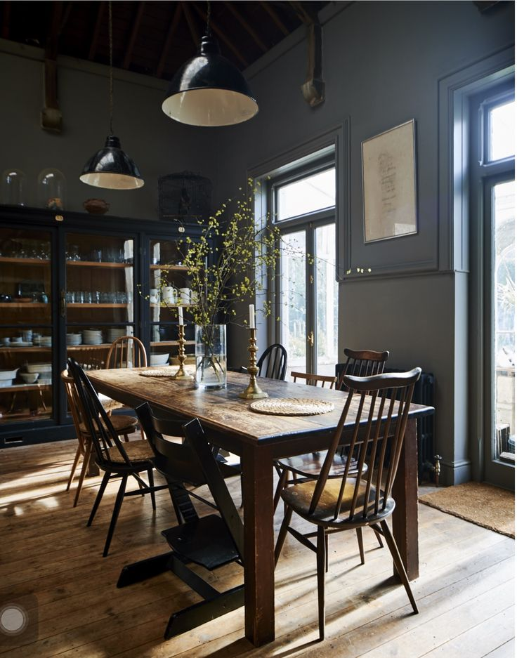 Farm table. Dark interior. Dining room.