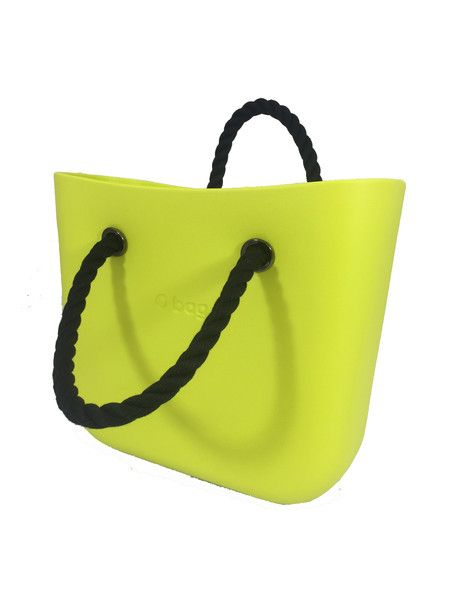 Lime Mini O Bag Body with Black Short Rope Handle