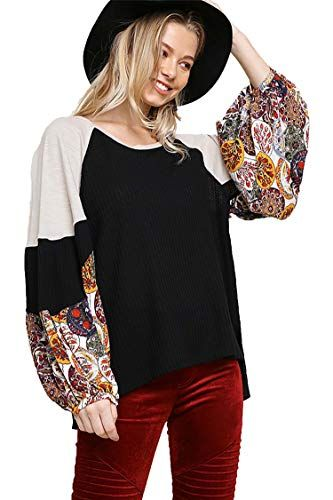 c57ef3c4975d81 Beautiful Umgee Women s Waffle Knit Top with Floral Print Puff Sleeves  Women fashion Tops.
