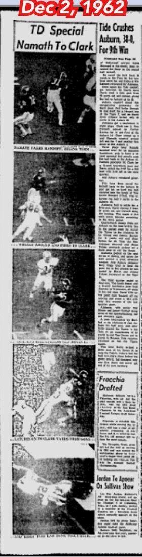 The Tuscaloosa News Dec 2, 1962 - Iron Bowl coverage - Alabama 38 Auburn 0 #Alabama #RollTide #Bama #BuiltByBama #RTR #CrimsonTide #RammerJammer #TheTuscaloosaNews