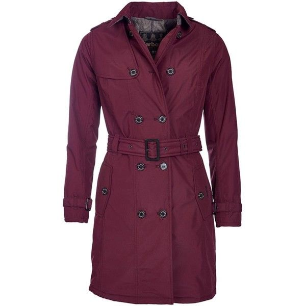 Women's Barbour Millfire Trench Coat - Bordeaux (14.305 RUB) ❤ liked on Polyvore featuring outerwear, coats, barbour coats, trench coat, purple trench coat, waterproof coat y purple coat