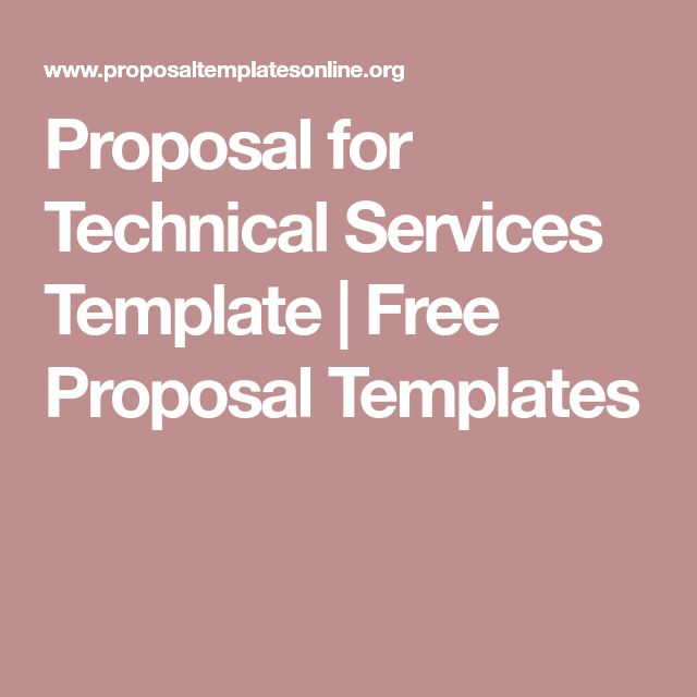 Proposal for Technical Services Template | Free Proposal Templates