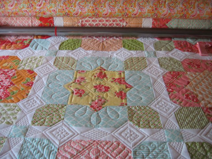 I have to remember to go to her website when I get ready to quilt my Swoon quilt.  I love love love this quilt!!!!  Threads on the floor: Holly's Flower Girl quilt - pattern here:  http://thimbleblossoms.bigcartel.com/product/flower-girl-pattern-151-paper-pattern