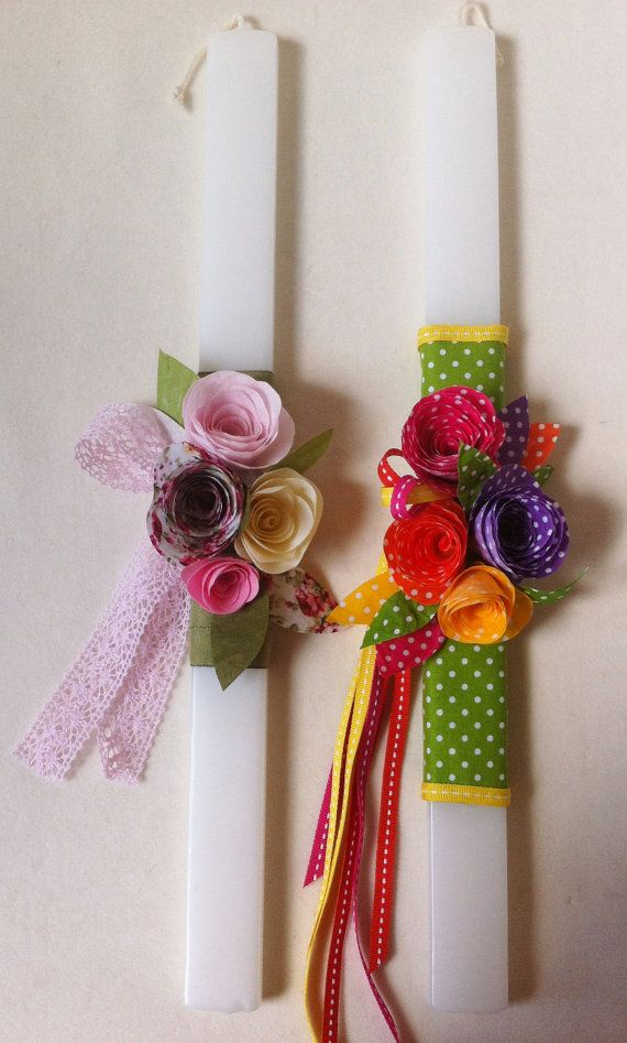 Orthodox Easter Candle Fabric Flowers by marilous on Etsy