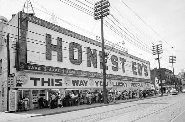 Vintage photo of the Toronto landmark, Honest Ed's.
