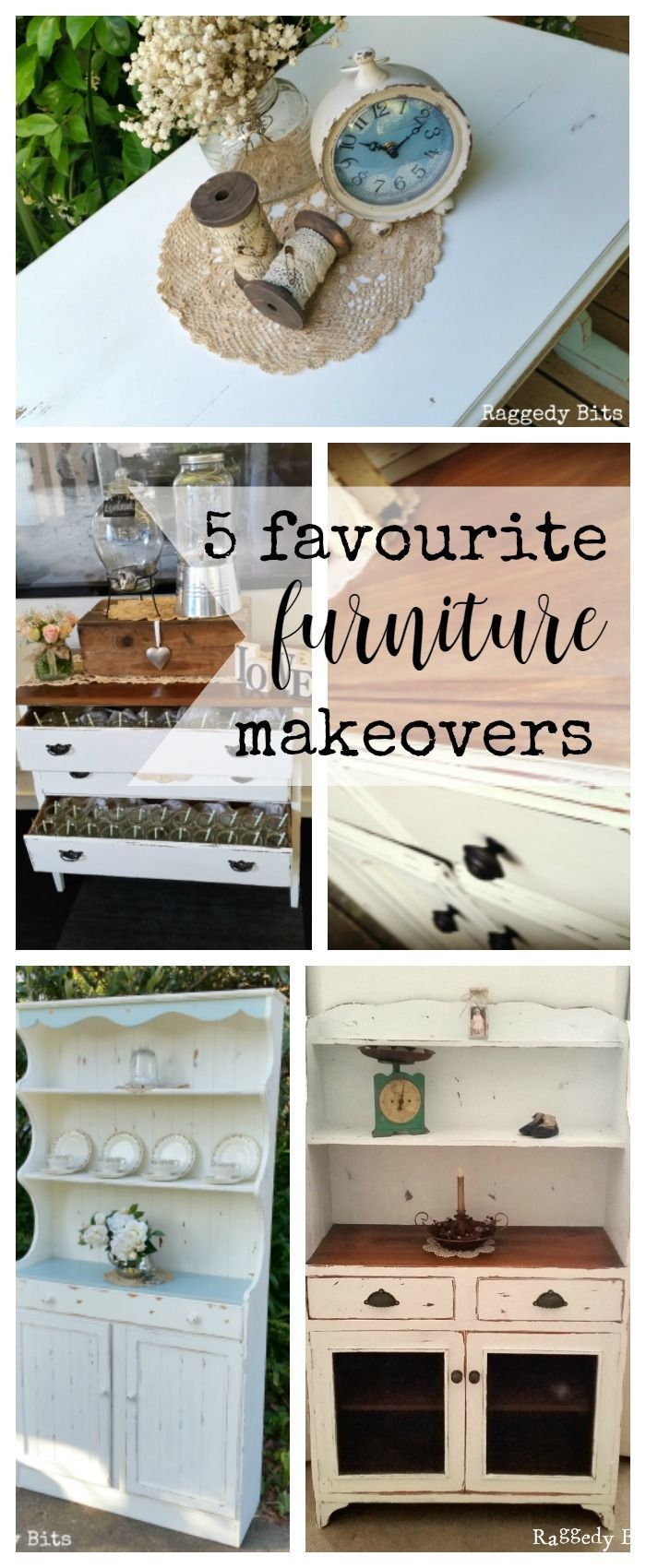 A collection of 5 Favourite Furniture Makeovers | http://www.raggedy-bits.com