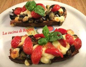 #Crostoni pomodorini, scamorza e melanzane# La cucina di Reginé