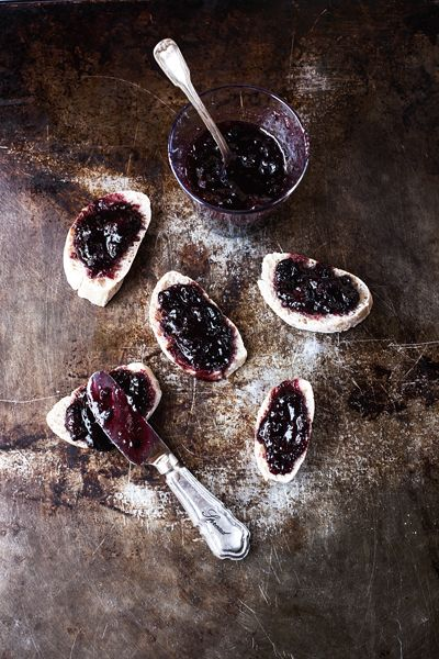 Prune blueberry jam on bread