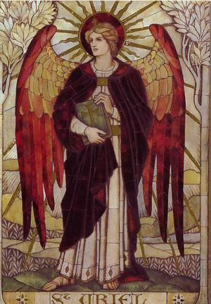 How to Recognize Archangel Uriel: Uriel depicted on a stained glass window in St John's Church, Wiltshire, England; designed by James Powell and Sons of the Whitefriars Foundry.