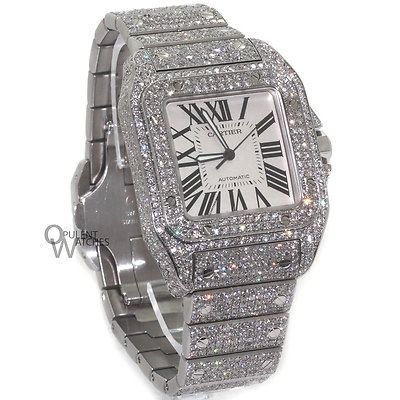 Cartier Santos 100 XL Stainless Watch 24.8CT Diamonds. List price: $48000