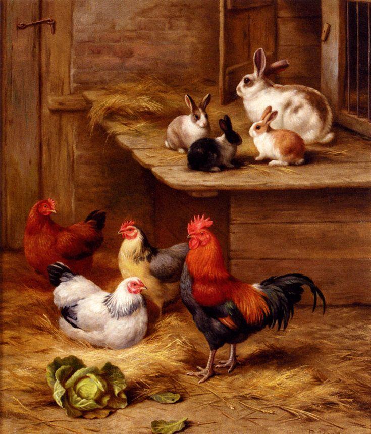 Farmyard Neighbours by Edgar Hunt•♥•.¸¸.•´¯`•.♥