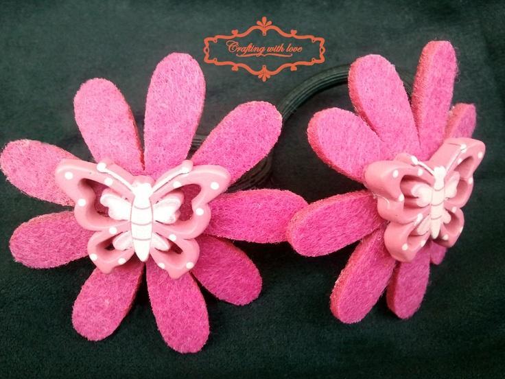 Handmade flower felt ponytail holder.
