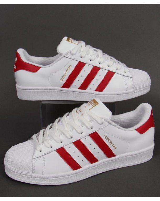 timeless design 35e58 d178f Adidas Superstar Foundation Trainers White red, Originals, shell toe shoes