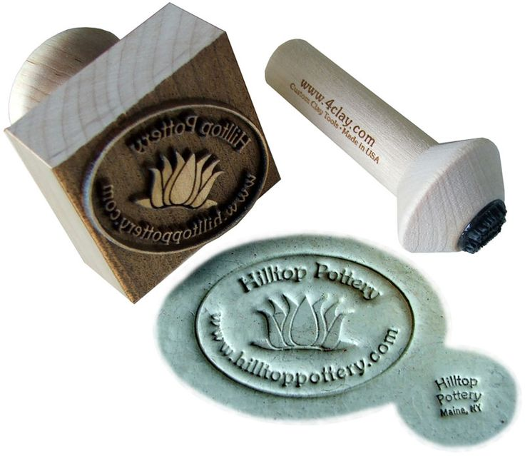 Company make stamps.  Examples of marker's marks in clay and historical pottery marks.