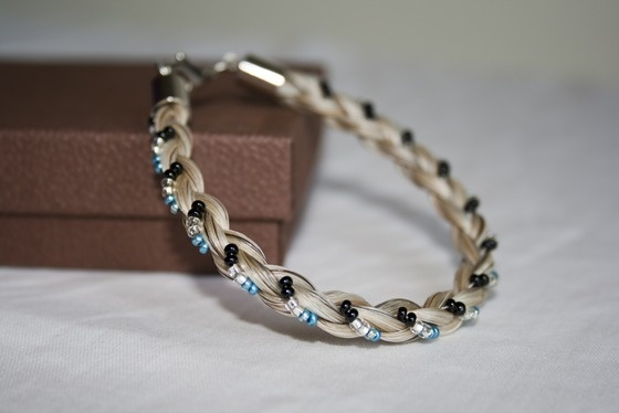 Beautiful White Horse Hair Bracelet, Braided with Black, Silver and Blue Beads $19.99