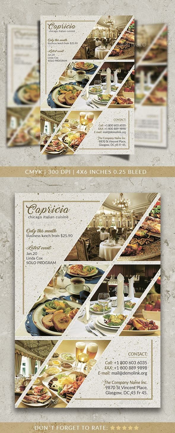 Capricia Restaurant Flyer Template PSD. Download here: http://graphicriver.net/item/capricia-restaurant-flyer-template/16022616?ref=ksioks