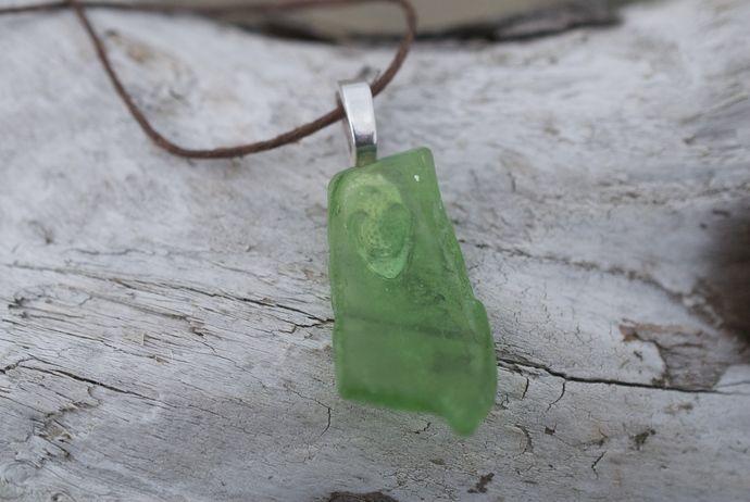 Green Sea Glass Pendant Necklace by Windrush Cove, $10.00 USD