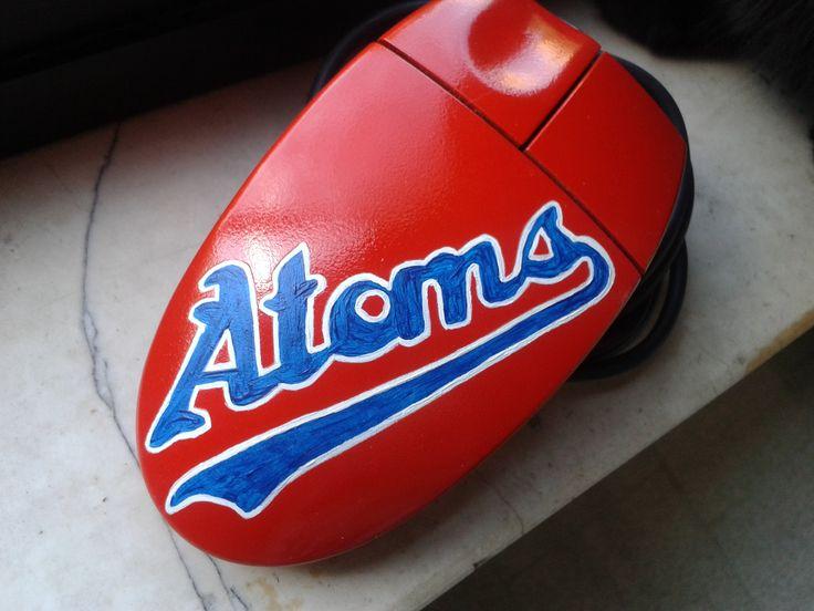 Mouse personalizzato e decorato a mano per le Atoms Chieti, squadra di softball di Chieti. #mouse #mod #decoration #personalized #fattoamano #giftideas