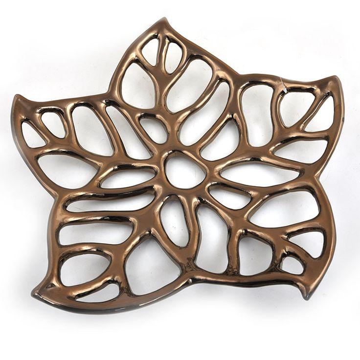 Regalia Floral Leaf Decorative Tray - Small 10in
