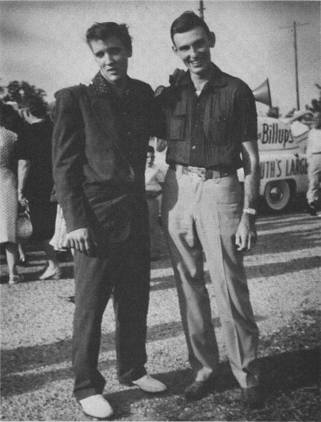 """Elvis Presley and Charlie Walker at the """"Jimmie Rodgers Festival"""" May 25, 1955. Meridian, MS  (Scotty Moore)"""