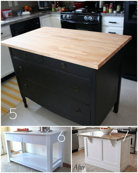 This one began as a dresser and found new life and purpose in the kitchen as a great island.  You can find the before, after, and tutorial at Sanity and Chaos.: Butcher Blocks, Old Dressers, Dressers Idea, Kitchens Tables, Diy'S Projects, Crafts Tables, Diy'S Kitchens, Dressers Kitchens Islands, Kitchen Islands